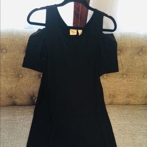 Chicos Knee Length Black Cold Shoulder Dress